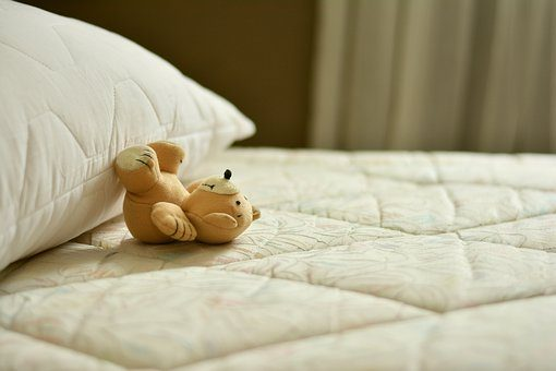Stuffed Toy at the bed and some pillows